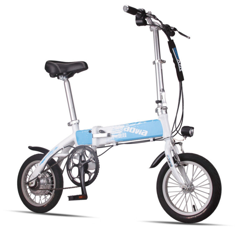 Blue Foldable Electric Bike Adult City Electric Push Bike With Li - Ion Battery