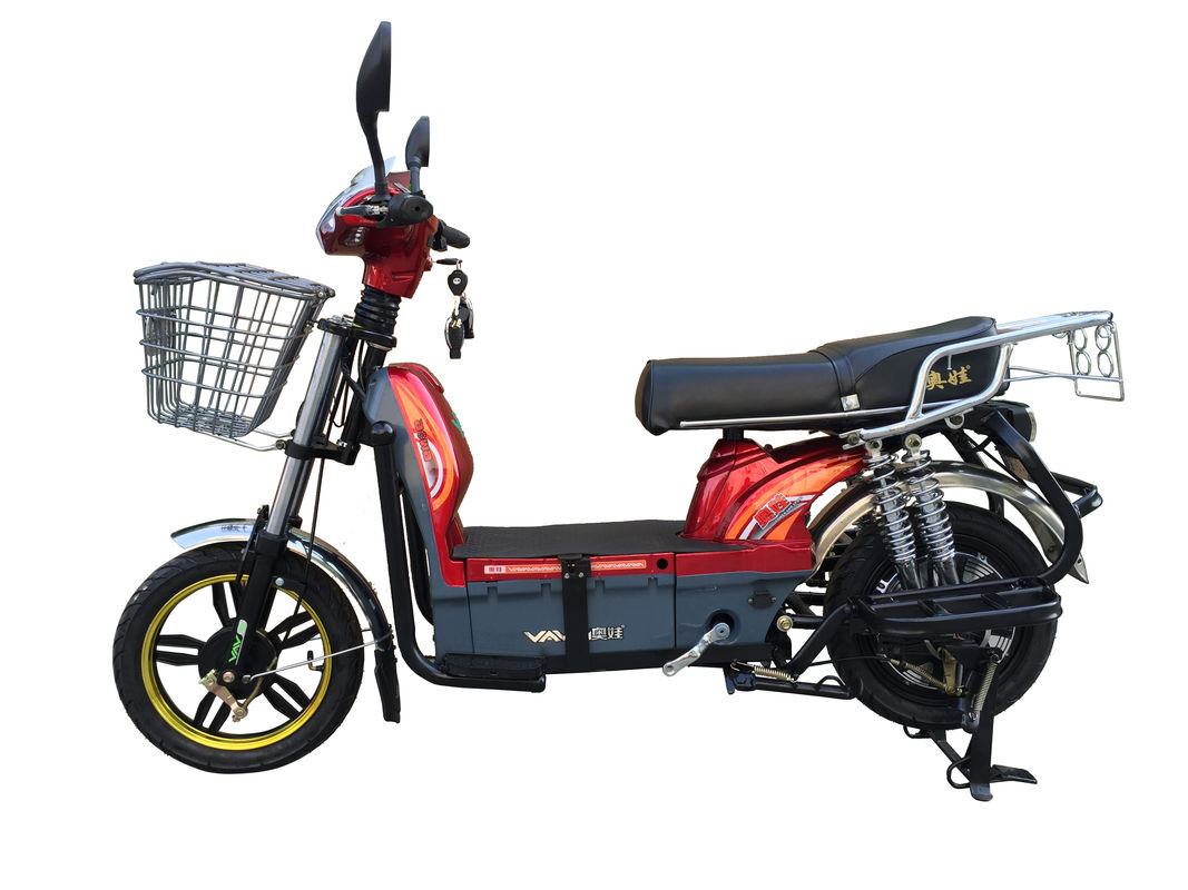 450W Adult Electric Bicycle Red Battery Operated Bikes With Motorcyle Seat Steel Frame